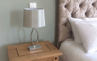 Bedside table lamp and cabinet